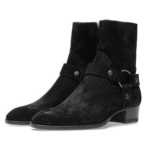 Original Suede Leather Men Chelsea Boots Round Toe Flats Zipper Buckle Strap Motorcycle Boots