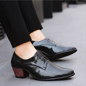 Formal Leather Shoes For Men High Heels Dress Wedding Derby Shoes