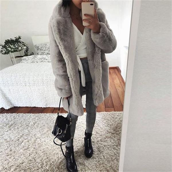Women's  Fashion Long Puffer Cardigan Winter Down Plush Jackets Solid