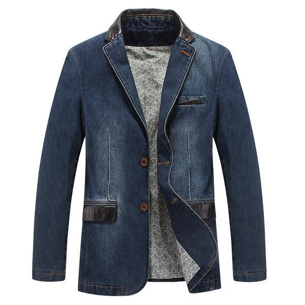 Geddss Men Casual Outdoor Jackets Stylish Suits Stitching Denim Blazers