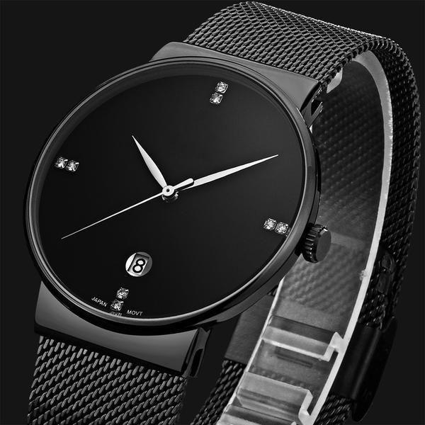 High Hardness Glass Mirror Men And Women General Mesh Belt Watch