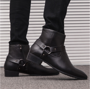 Men's Ankle Genuine Leather Chelsea Pointed Toe Casual Boots Plus Size