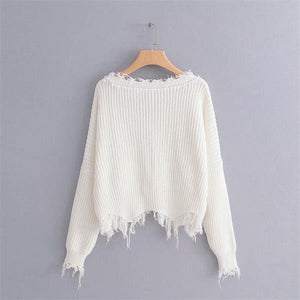 V-neck fringed raw long-sleeved knit sweater