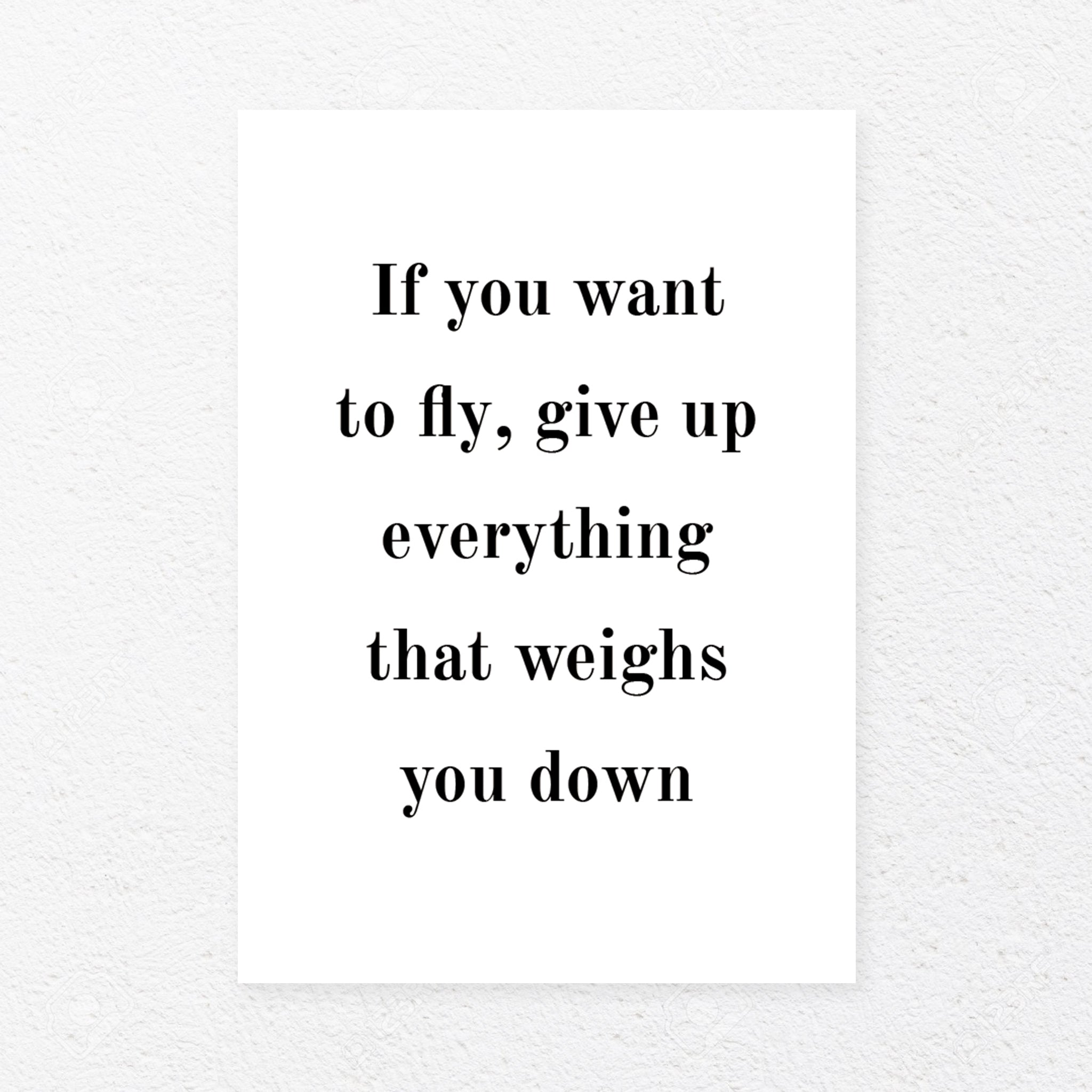 If you want to fly, give up everything that weighs you down, , Heimekoseleg