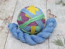 Load image into Gallery viewer, MCN Self Striping Yarn in What Fun! Colourway with a merino nylon mini skein