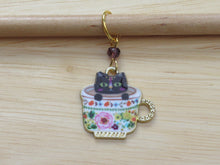 Load image into Gallery viewer, Black cat in a teacup Stitch Marker / Progress Keeper