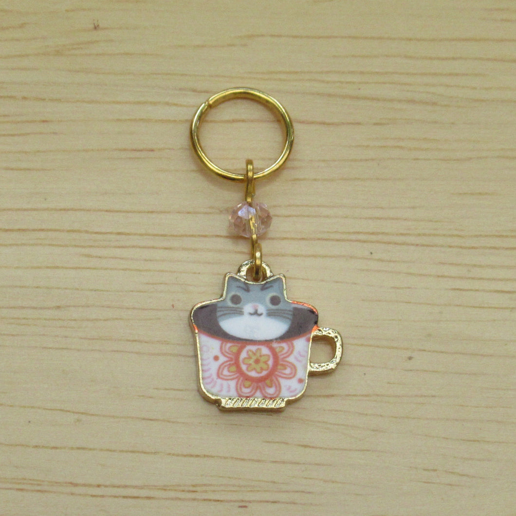 Tiny cat in a teacup Stitch Marker / Progress Keeper