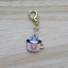 Load image into Gallery viewer, Tiny cat in a teacup Stitch Marker / Progress Keeper