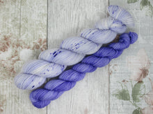 Load image into Gallery viewer, Silver Sparkle 4ply 50g in Parma Violets colourway with a matching mini skein