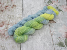 Load image into Gallery viewer, Bluefaced Leicester and Nylon 4ply 50g in Summers Day colourway with a mini skein in blue