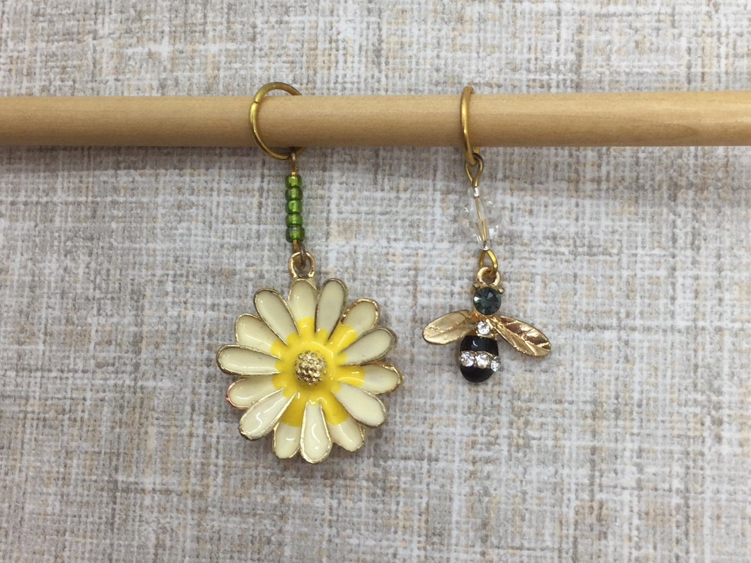 Bee and Yellow Flower Stitch Markers/Progress Keepers