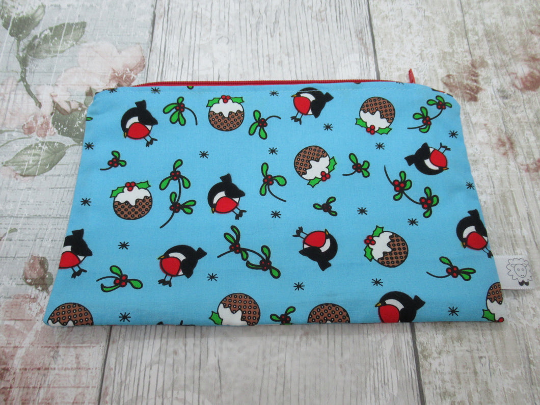 Christmas Robin and Christmas Pudding Notions Pouch