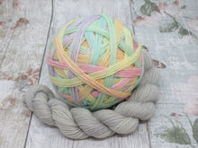 Load image into Gallery viewer, Merino Nylon Self Striping Yarn in Unicorn Fizzle colourwaywith a coordinating mini skein