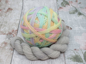 Merino Nylon Self Striping Yarn in Unicorn Fizzle colourwaywith a coordinating mini skein