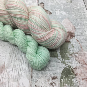 Self Striping Yarn in Blossom Pink and Spring Green