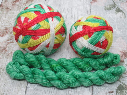 DYED TO ORDER Silver Sparkle Self Striping Yarn in Christmas Elf colourway with a coordinating mini skein