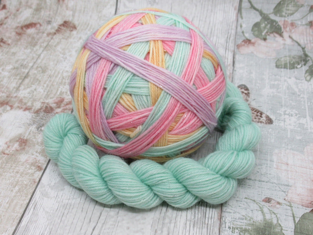 DYED TO ORDER Silver Sparkle Self Striping Yarn in Fruit Pastels colourway with a coordinating mini skein