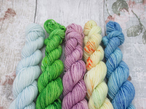 Merino Nylon mini skein set in speckled colours