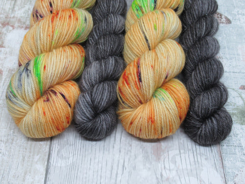 DYED TO ORDER Silver Sparkle 4ply in Pumpkin Twizzler colourway with a charcoal mini skein