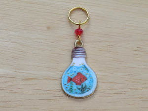 Goldfish in a lightbulb Stitch Marker / Progress Keeper