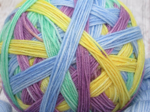 Silver Sparkle Self Striping Yarn in What Fun! colourway with a coordinating mini skein