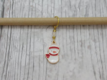 Load image into Gallery viewer, Snowman in a scarf Stitch Marker / Progress Keeper