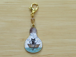 Rowboat cat in a lightbulb Stitch Marker / Progress Keeper