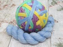 Load image into Gallery viewer, Silver Sparkle Self Striping Yarn in What Fun! colourway with a coordinating mini skein