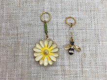 Load image into Gallery viewer, Bee and Yellow Flower Stitch Markers/Progress Keepers