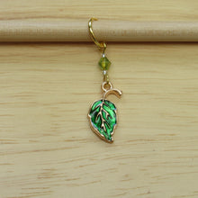 Load image into Gallery viewer, Enamel Leaf Stitch Marker / Progress Keeper