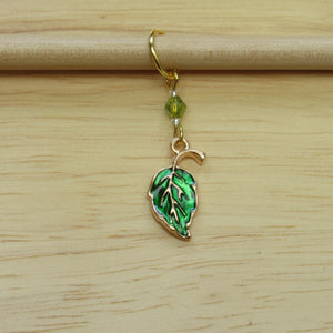 Enamel Leaf Stitch Marker / Progress Keeper