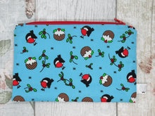 Load image into Gallery viewer, Christmas Robin and Christmas Pudding Notions Pouch