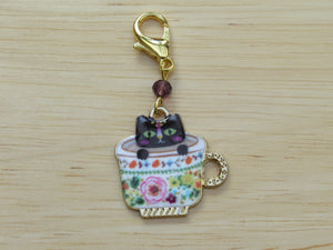 Black cat in a teacup Stitch Marker / Progress Keeper