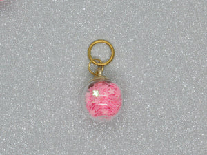 Pink Star filled Bauble Stitch Marker / Progress Keeper