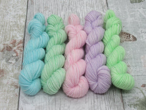 Silver Sparkle 10g mini skein set in pastel colours