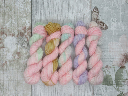Merino Bamboo 10g Mini Skein Set in Pink Variegated Colours