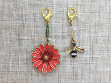 Load image into Gallery viewer, Bee and Red Flower Stitch Markers/Progress Keepers