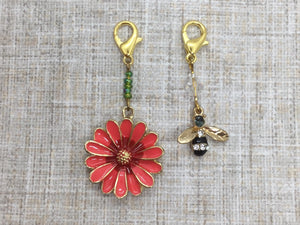 Bee and Red Flower Stitch Markers/Progress Keepers