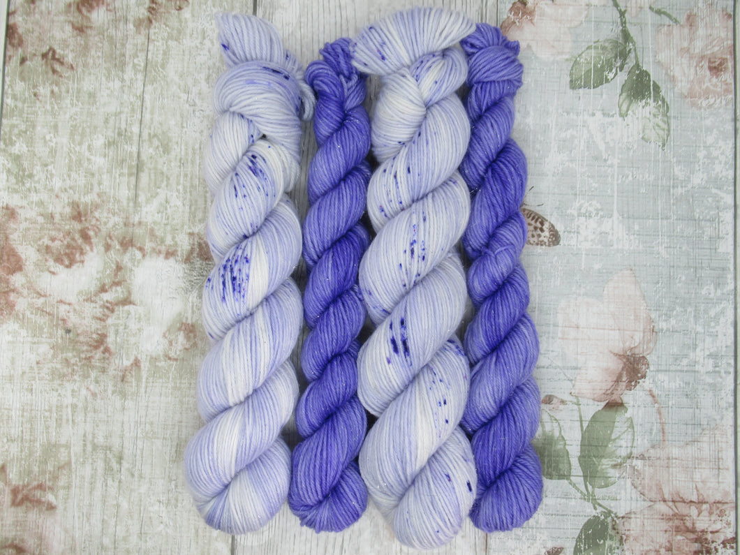 Silver Sparkle 4ply 50g in Parma Violets colourway with a matching mini skein