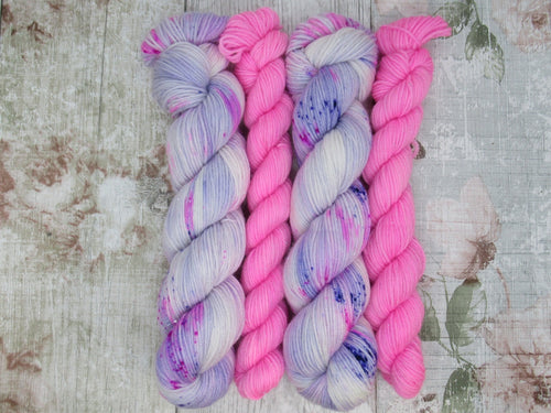 DYED TO ORDER Silver Sparkle 4ply 50g in Sugar Plum colourway