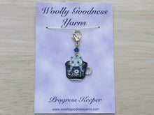 Load image into Gallery viewer, Funky cat in a teacup Stitch Marker / Progress Keeper