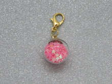 Load image into Gallery viewer, Pink Star filled Bauble Stitch Marker / Progress Keeper
