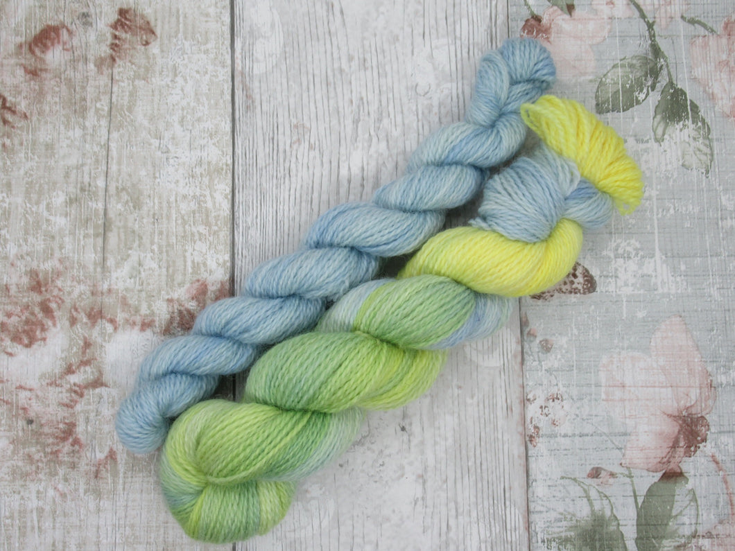 Bluefaced Leicester and Nylon 4ply 50g in Summers Day colourway with a mini skein in blue