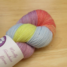 Load image into Gallery viewer, Silver Sparkle 4ply 100g in Rainbow colourway