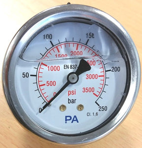 "PA Pressure Gauge 63mm - 1/4"" BSP Back Entry 1.6% FSD Accuracy - Parker Hydraulics & Pneumatics"