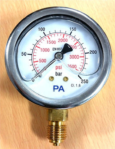 "PA Pressure Gauge 63mm - 1/4"" BSP Bottom Entry 1.6% FSD Accuracy - Parker Hydraulics & Pneumatics"