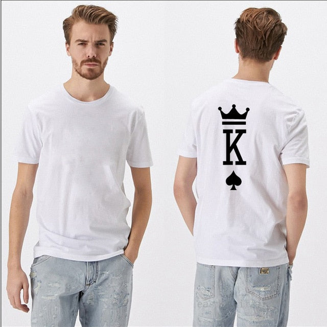 Fashion Graphic Poker Printing King Queen Heart Street Tshirts Summer Women Men Short Sleeve Casual Couple Lover
