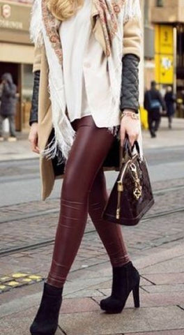 legging simili cuir bordeaux