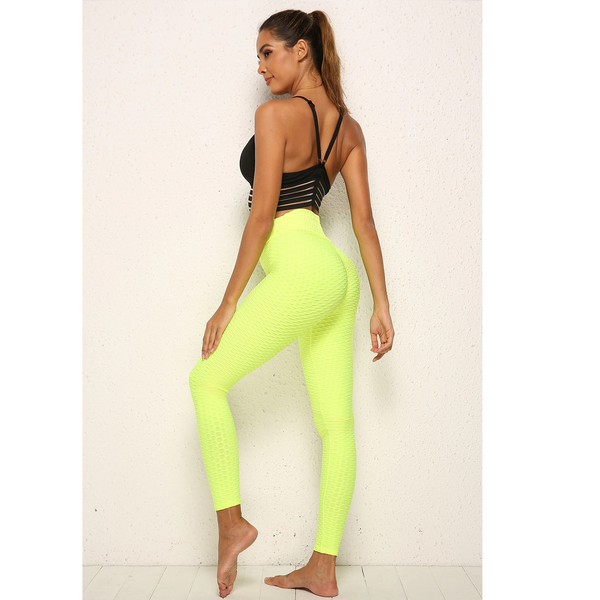 legging anti cellulite jaune fluo, push up
