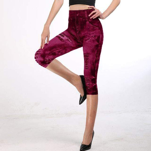 Rouge / XXXL Jegging 3/4, taille haute